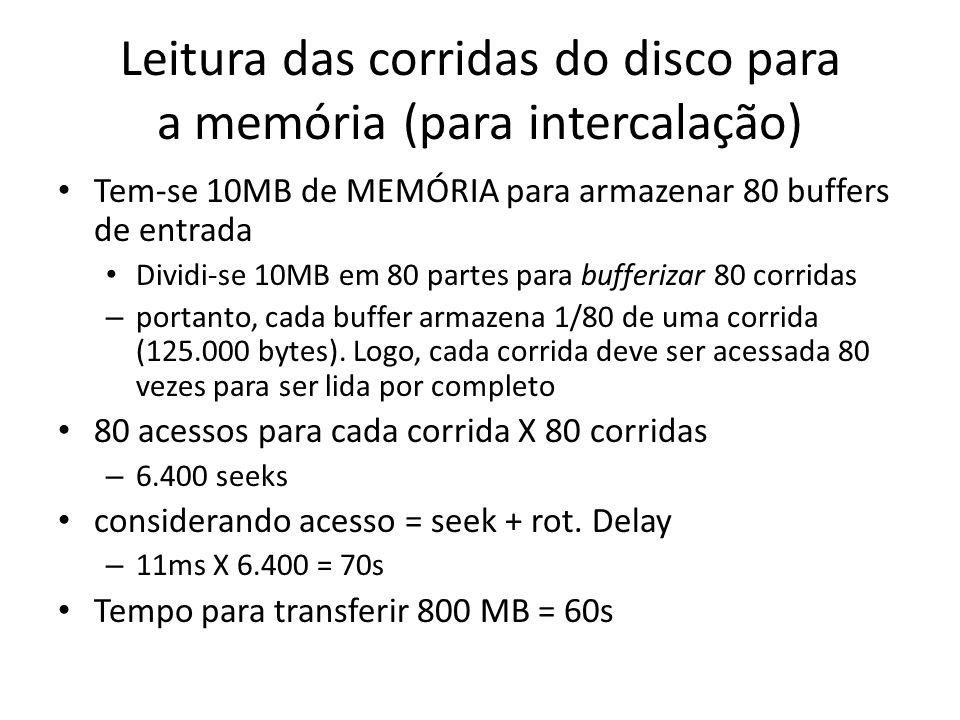Leitura das corridas do disco para a memória (para intercalação)