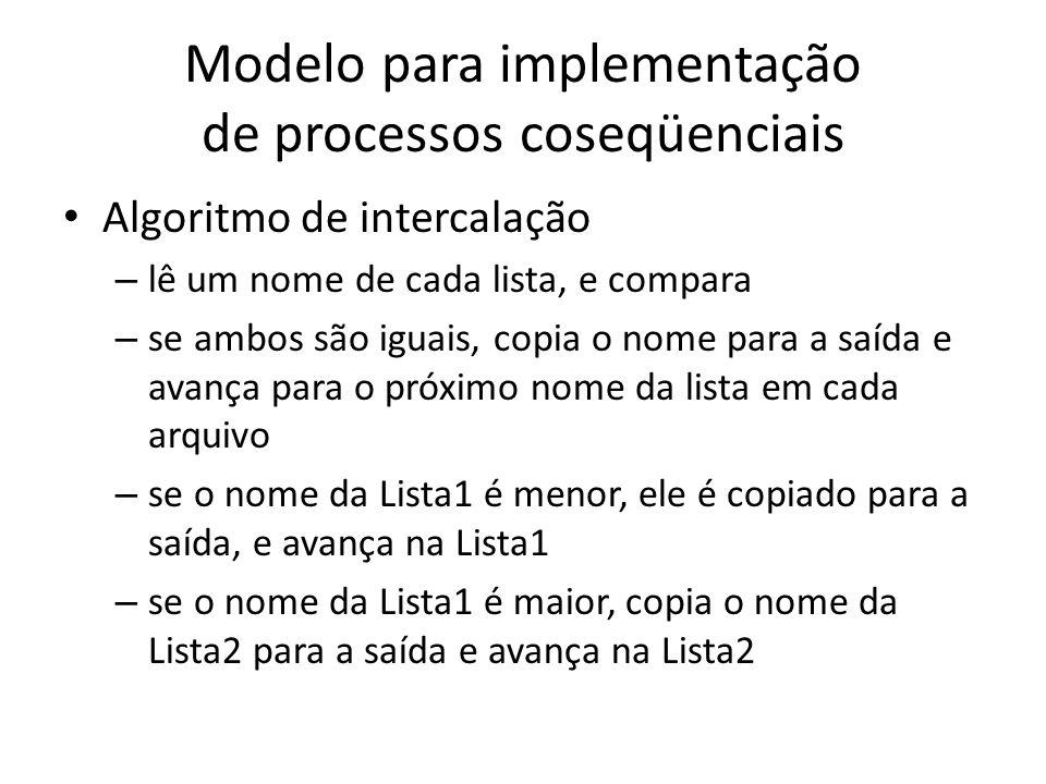 Modelo para implementação de processos coseqüenciais