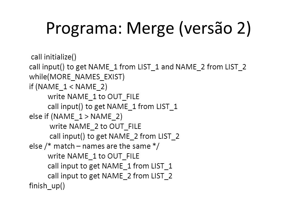 Programa: Merge (versão 2)