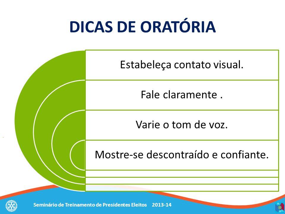 DICAS DE ORATÓRIA Estabeleça contato visual. Fale claramente .