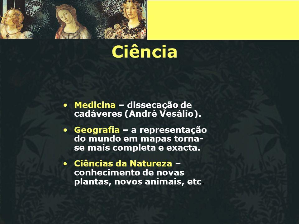 Ciência Medicina – dissecação de cadáveres (André Vesálio).