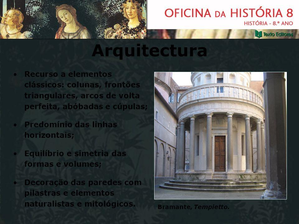 ArquitecturaRecurso a elementos clássicos: colunas, frontões triangulares, arcos de volta perfeita, abóbadas e cúpulas;