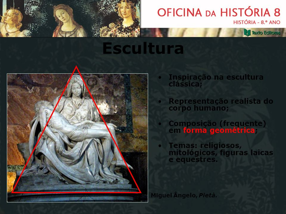 Escultura Inspiração na escultura clássica;