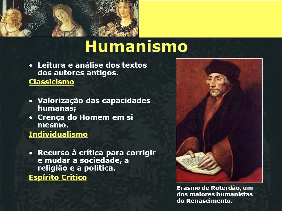 Humanismo Leitura e análise dos textos dos autores antigos.