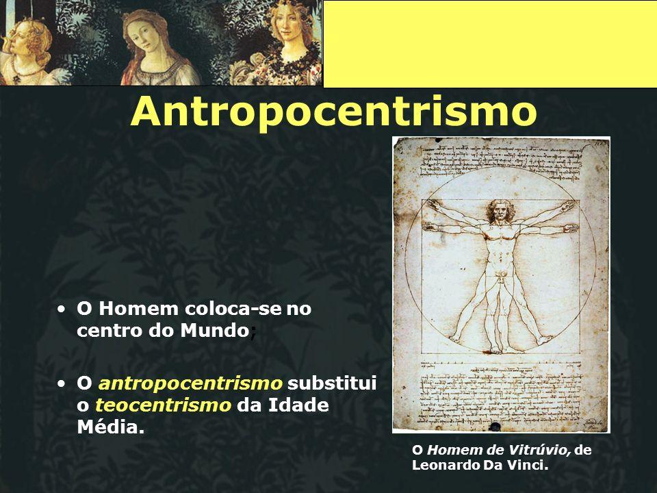 Antropocentrismo O Homem coloca-se no centro do Mundo;