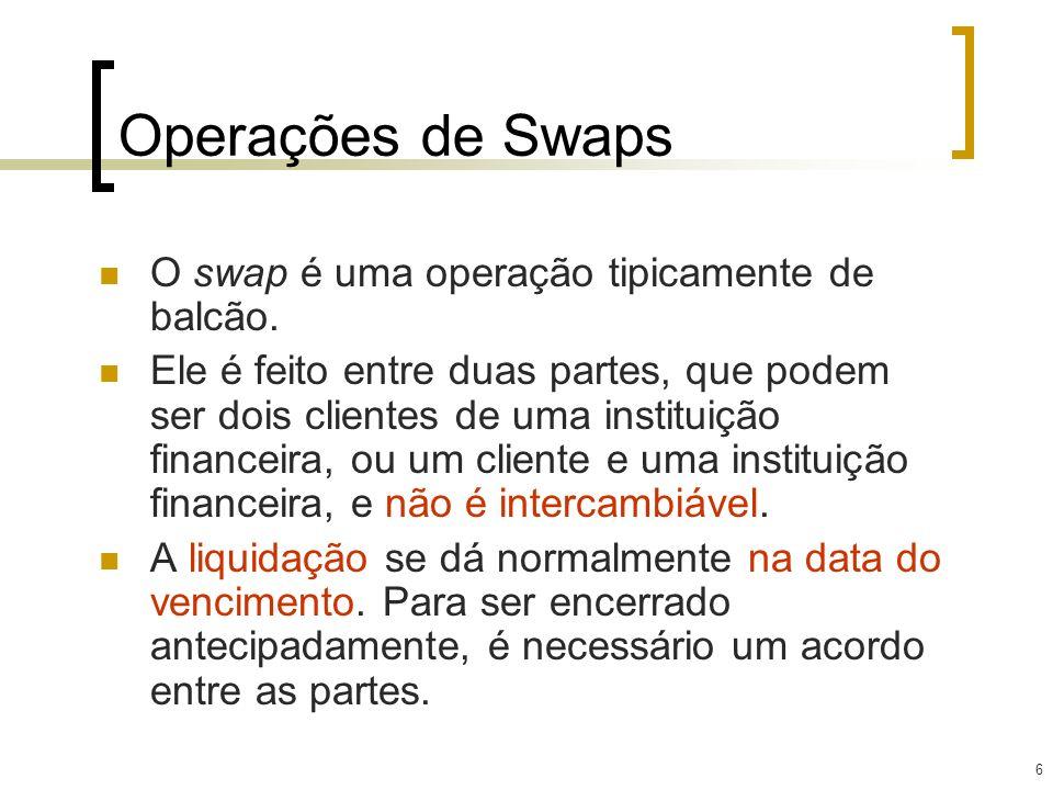 Operações de Swaps O swap é uma operação tipicamente de balcão.