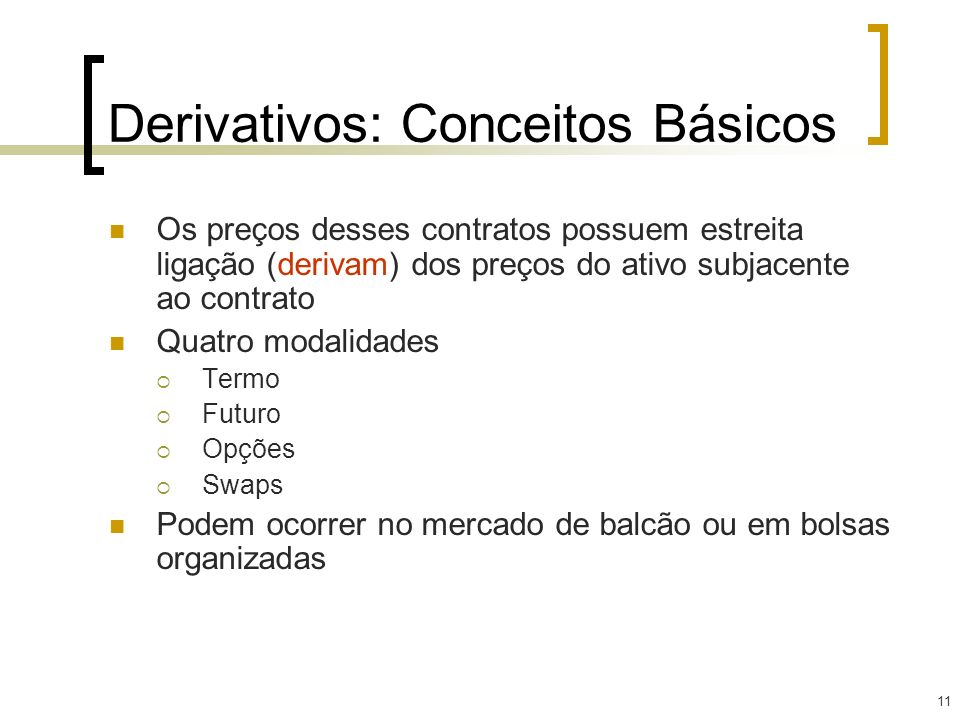 Derivativos: Conceitos Básicos