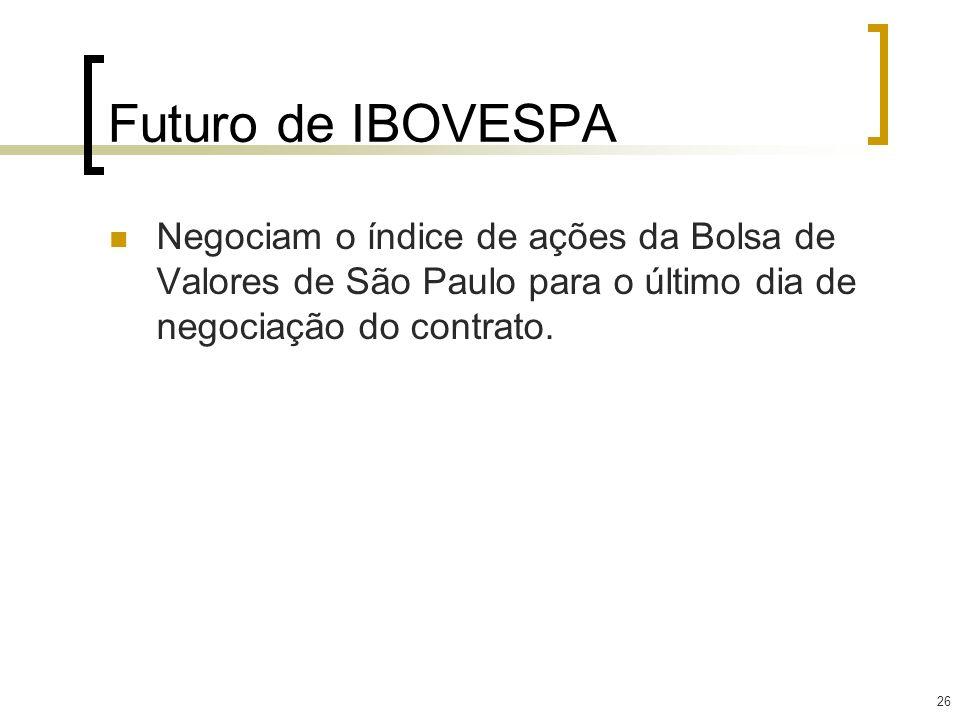 Futuro de IBOVESPA Negociam o índice de ações da Bolsa de Valores de São Paulo para o último dia de negociação do contrato.