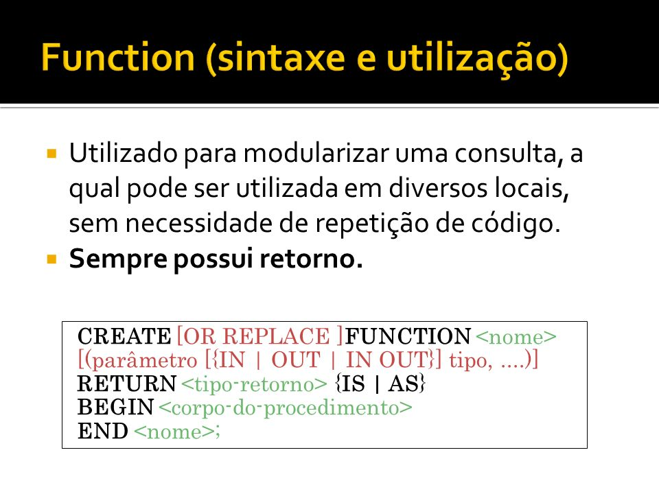 Function (sintaxe e utilização)