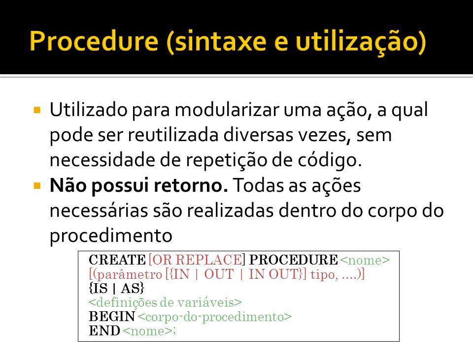 Procedure (sintaxe e utilização)