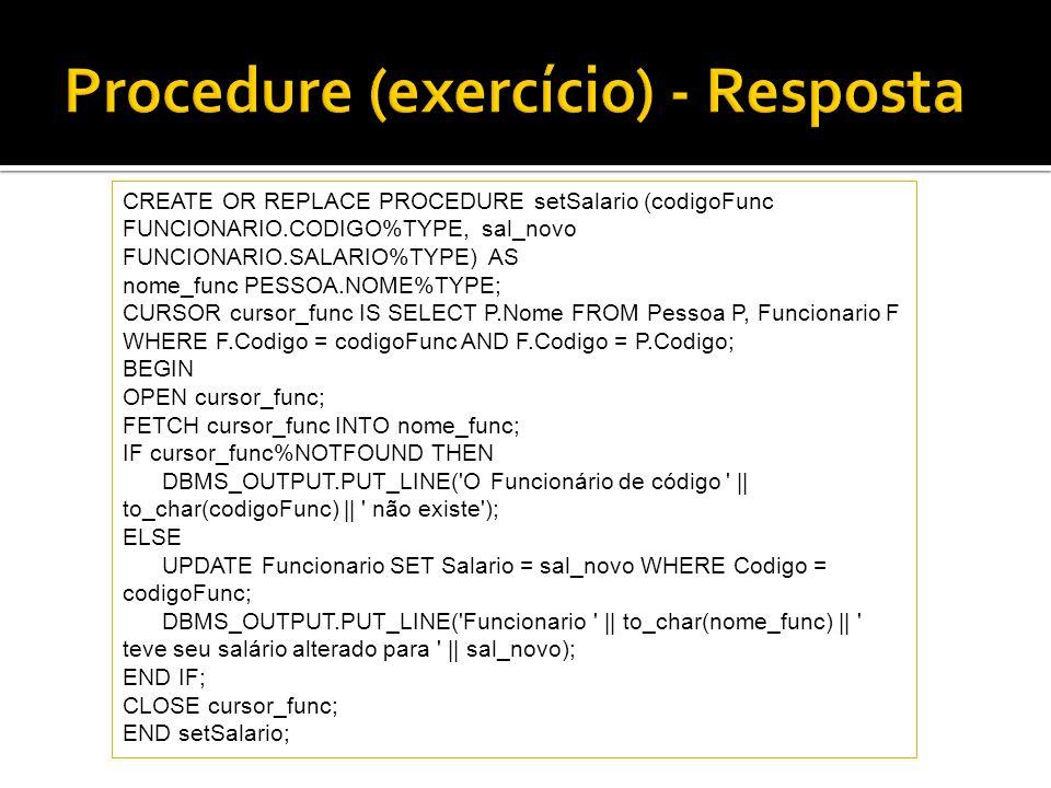Procedure (exercício) - Resposta