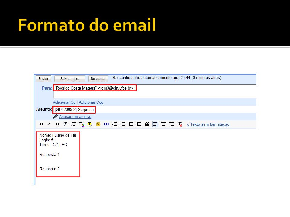 Formato do email