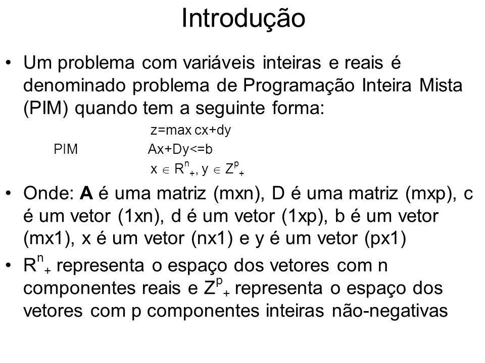 Introdução Um problema com variáveis inteiras e reais é denominado problema de Programação Inteira Mista (PIM) quando tem a seguinte forma:
