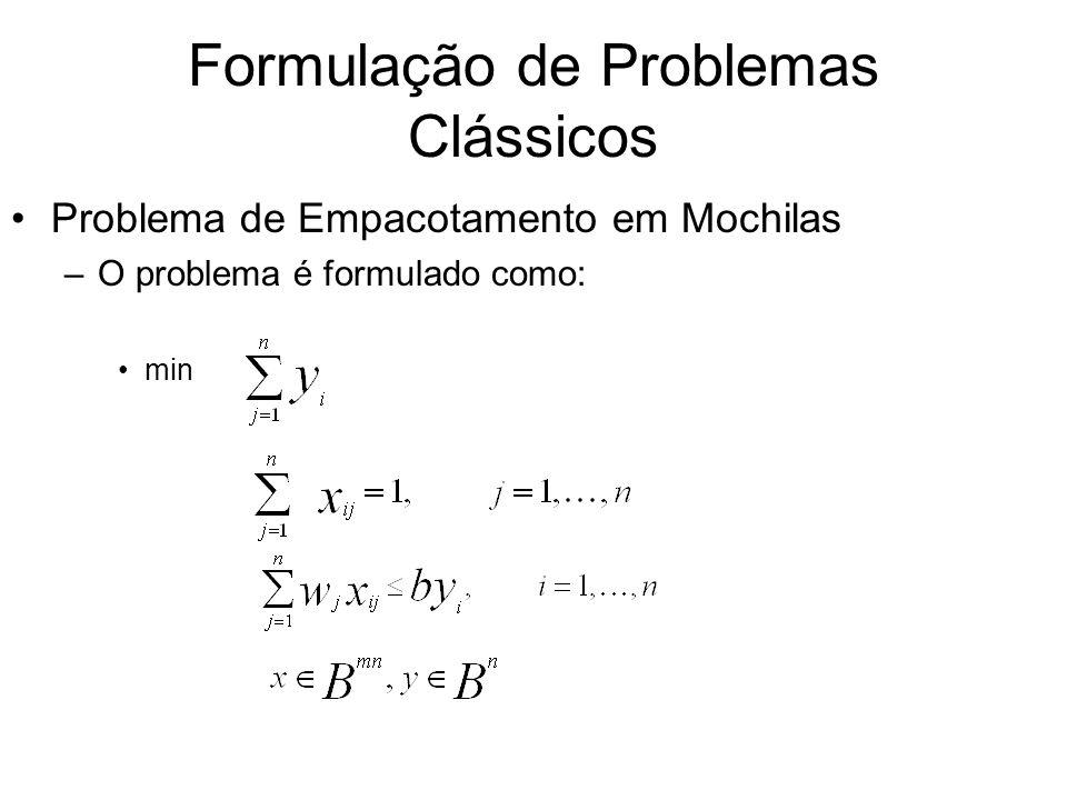 Formulação de Problemas Clássicos