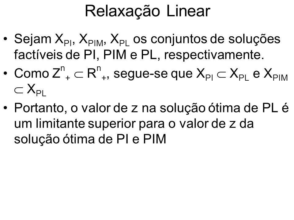 Relaxação Linear Sejam XPI, XPIM, XPL os conjuntos de soluções factíveis de PI, PIM e PL, respectivamente.