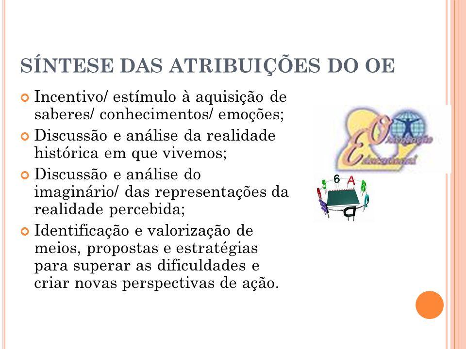 SÍNTESE DAS ATRIBUIÇÕES DO OE