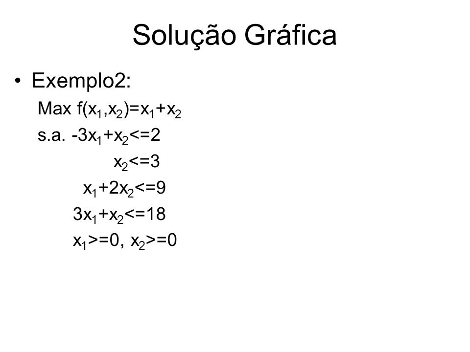 Solução Gráfica Exemplo2: Max f(x1,x2)=x1+x2 s.a. -3x1+x2<=2