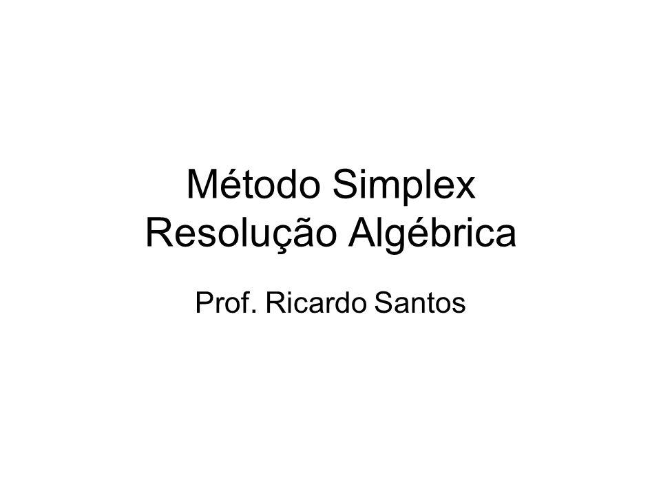 Método Simplex Resolução Algébrica