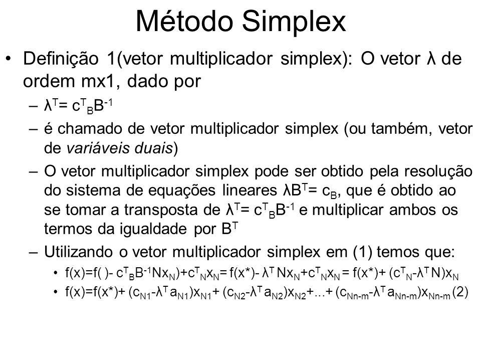 Método Simplex Definição 1(vetor multiplicador simplex): O vetor λ de ordem mx1, dado por. λT= cTBB-1.