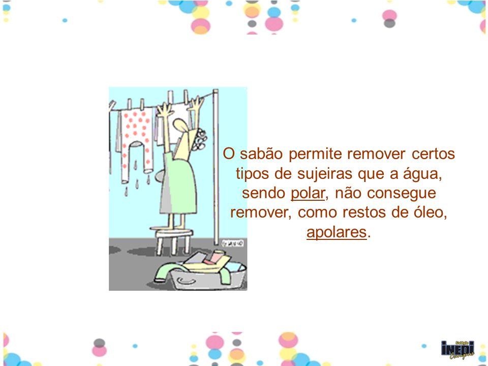 O sabão permite remover certos tipos de sujeiras que a água, sendo polar, não consegue remover, como restos de óleo, apolares.