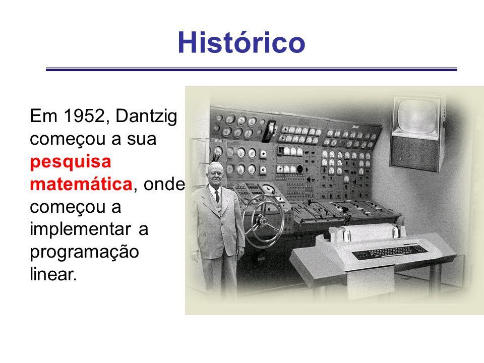 HistóricoEm 1952, Dantzig começou a sua pesquisa matemática, onde começou a implementar a programação linear.