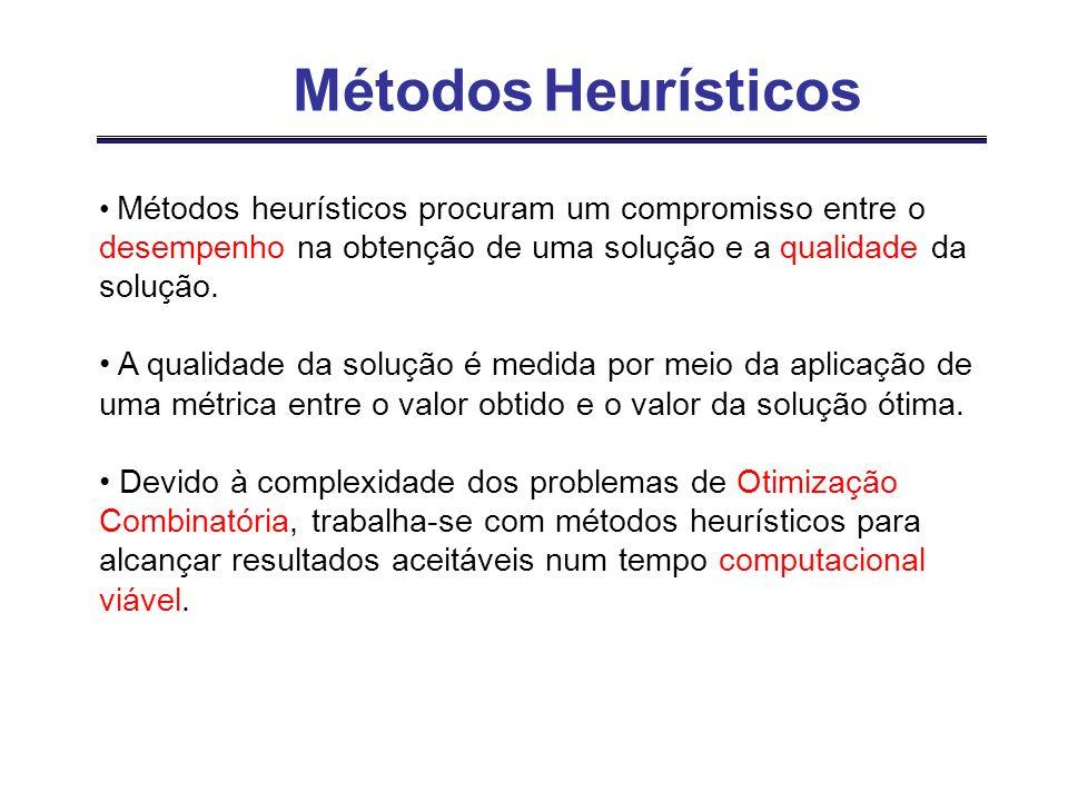 Métodos HeurísticosMétodos heurísticos procuram um compromisso entre o desempenho na obtenção de uma solução e a qualidade da solução.