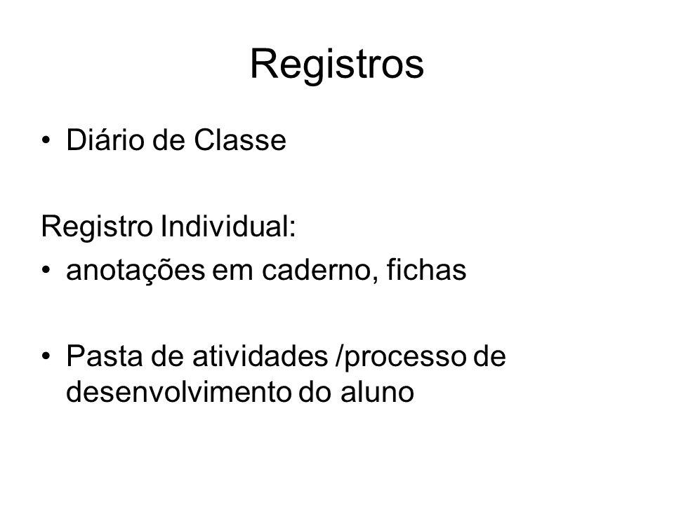Registros Diário de Classe Registro Individual: