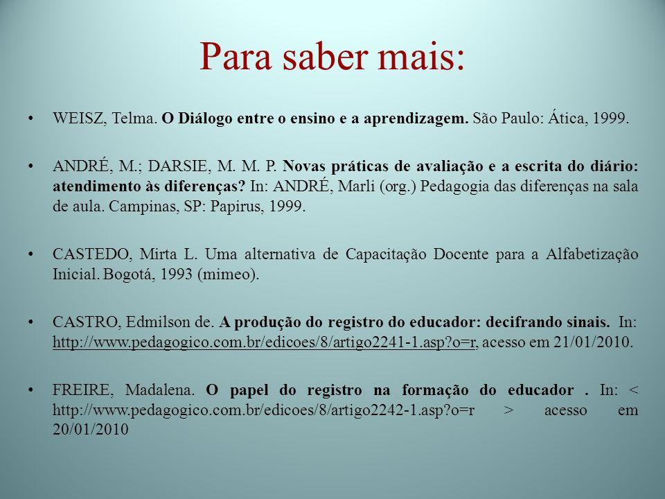 Para saber mais:WEISZ, Telma. O Diálogo entre o ensino e a aprendizagem. São Paulo: Ática, 1999.