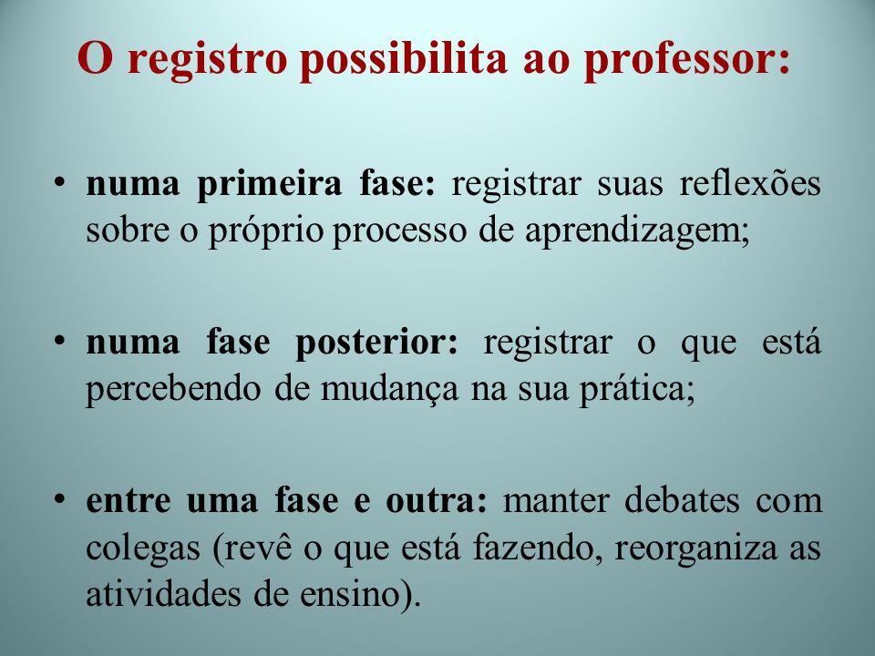 O registro possibilita ao professor: