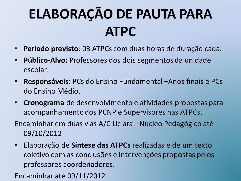 ELABORAÇÃO DE PAUTA PARA ATPC