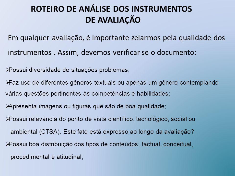 ROTEIRO DE ANÁLISE DOS INSTRUMENTOS