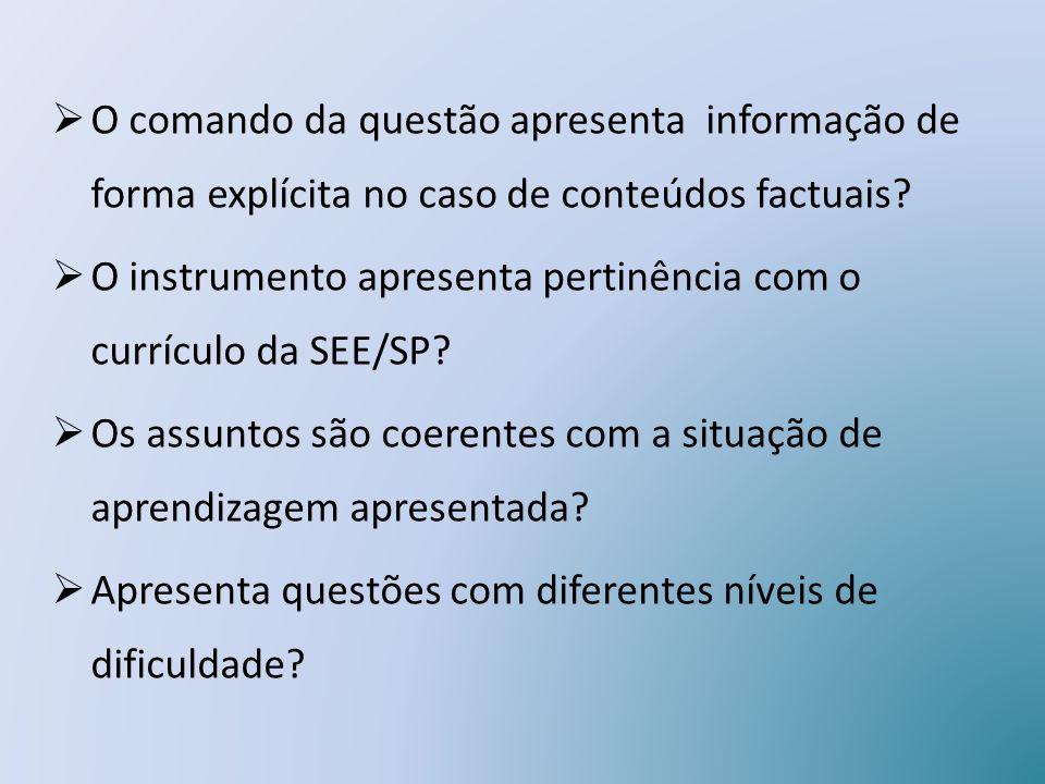 O comando da questão apresenta informação de forma explícita no caso de conteúdos factuais