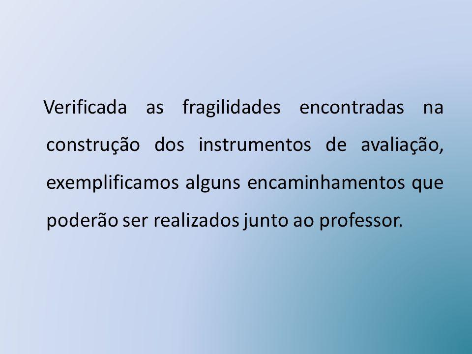 Verificada as fragilidades encontradas na construção dos instrumentos de avaliação, exemplificamos alguns encaminhamentos que poderão ser realizados junto ao professor.