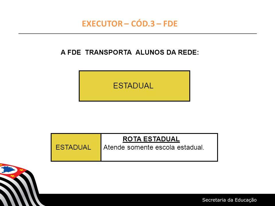 EXECUTOR – CÓD.3 – FDE ESTADUAL A FDE TRANSPORTA ALUNOS DA REDE: