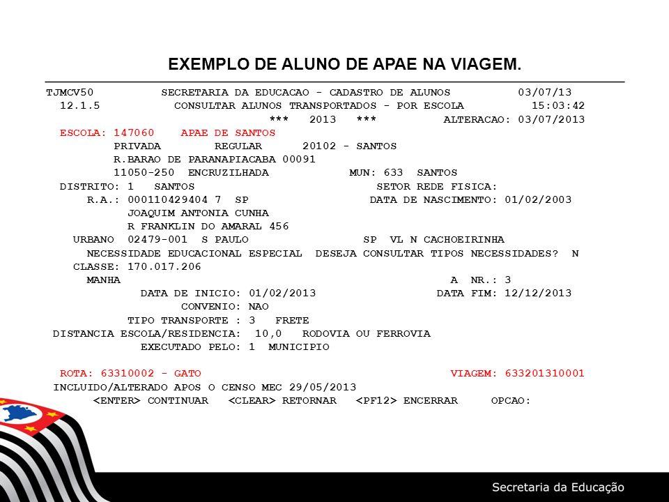 EXEMPLO DE ALUNO DE APAE NA VIAGEM.