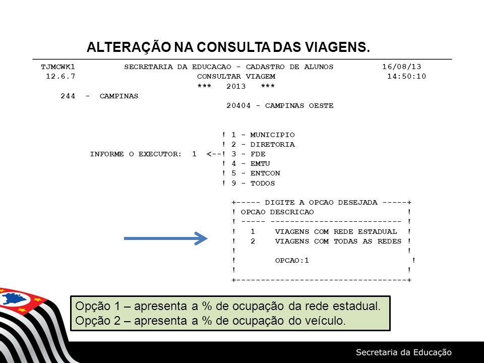 ALTERAÇÃO NA CONSULTA DAS VIAGENS.