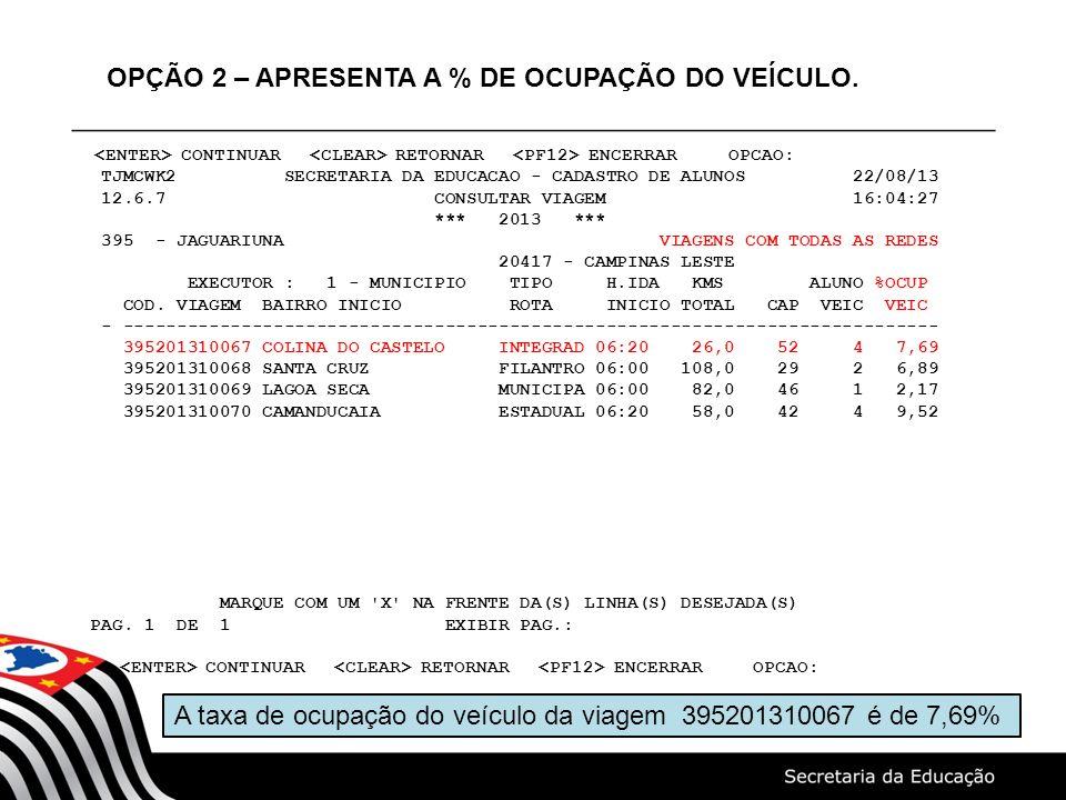 OPÇÃO 2 – APRESENTA A % DE OCUPAÇÃO DO VEÍCULO.