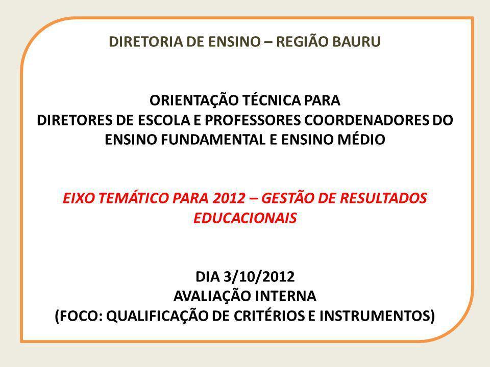 DIRETORIA DE ENSINO – REGIÃO BAURU ORIENTAÇÃO TÉCNICA PARA DIRETORES DE ESCOLA E PROFESSORES COORDENADORES DO ENSINO FUNDAMENTAL E ENSINO MÉDIO EIXO TEMÁTICO PARA 2012 – GESTÃO DE RESULTADOS EDUCACIONAIS DIA 3/10/2012 AVALIAÇÃO INTERNA (FOCO: QUALIFICAÇÃO DE CRITÉRIOS E INSTRUMENTOS)