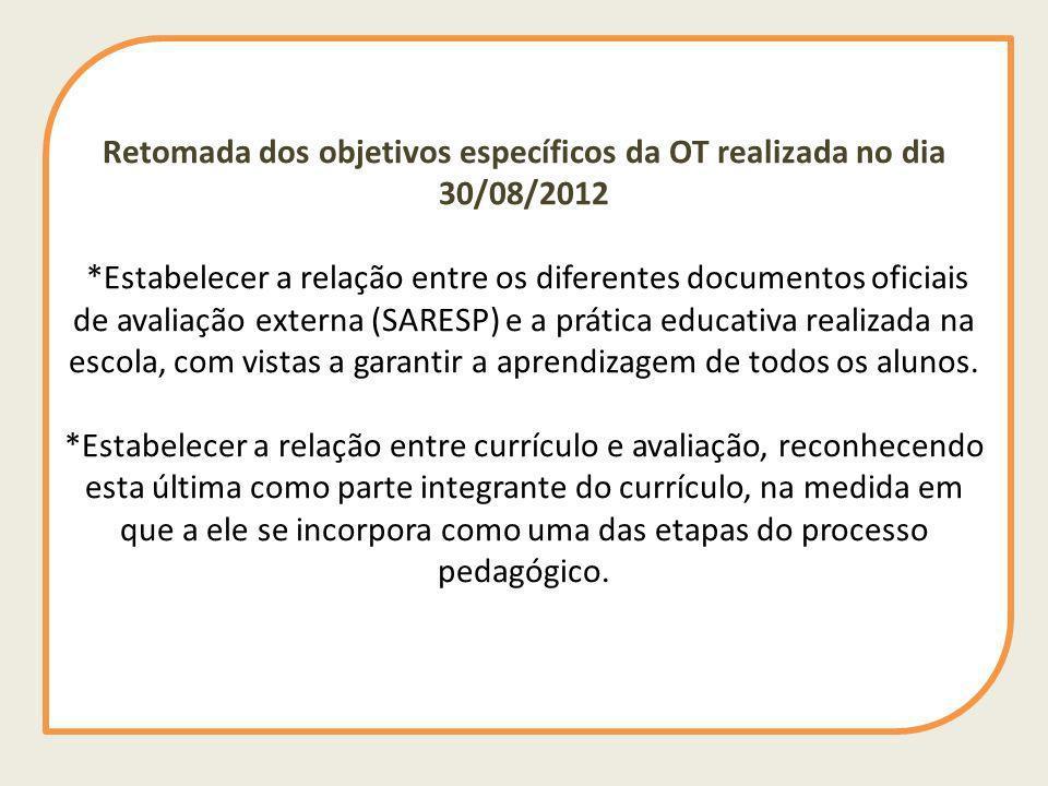 Retomada dos objetivos específicos da OT realizada no dia 30/08/2012