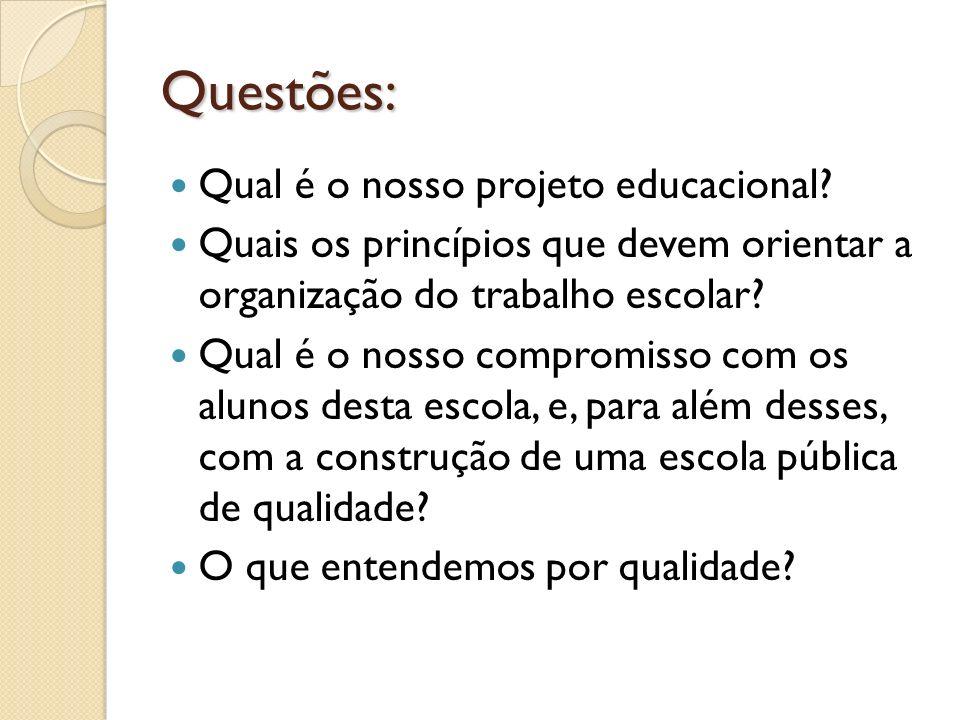 Questões: Qual é o nosso projeto educacional