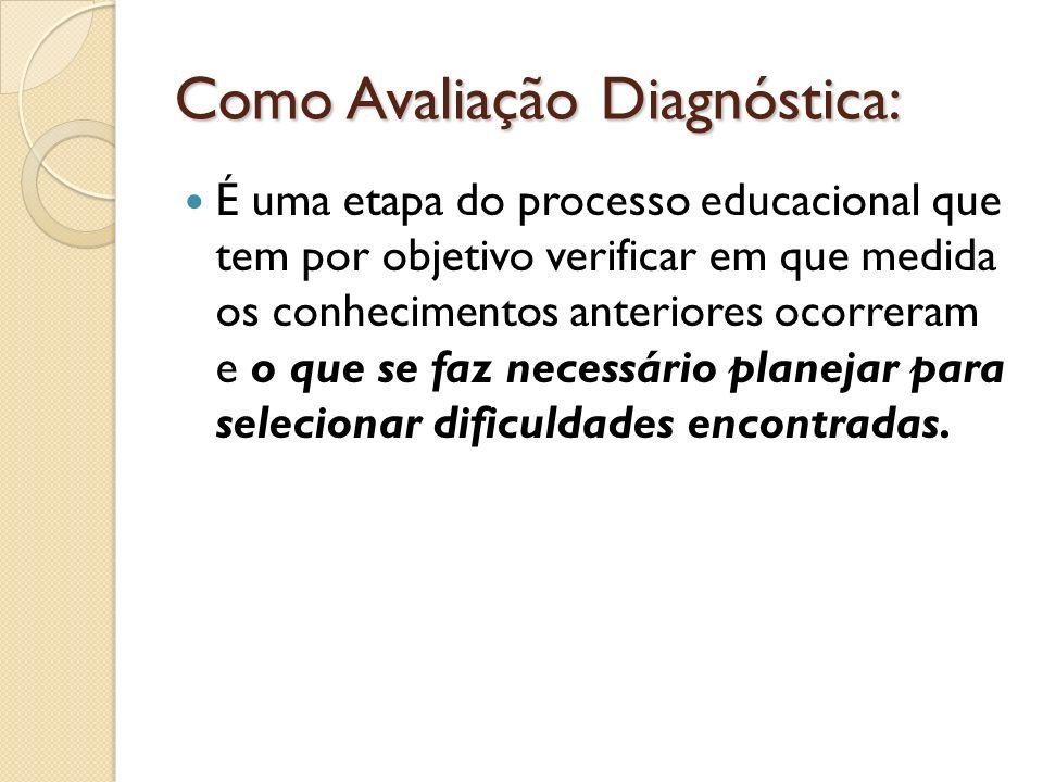 Como Avaliação Diagnóstica: