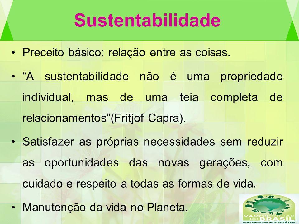 Sustentabilidade Preceito básico: relação entre as coisas.