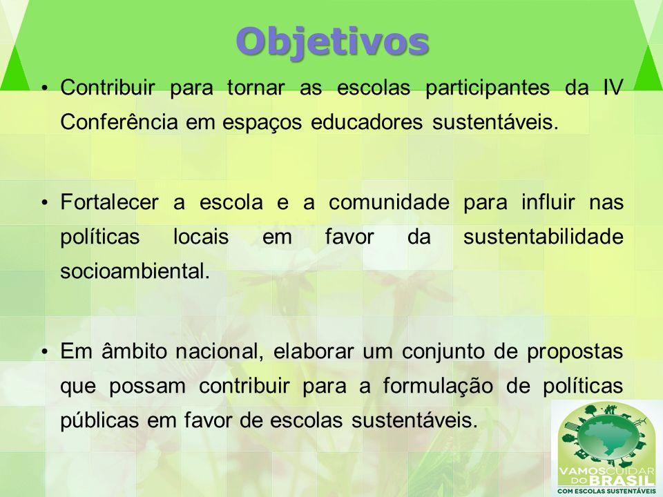 Objetivos Contribuir para tornar as escolas participantes da IV Conferência em espaços educadores sustentáveis.