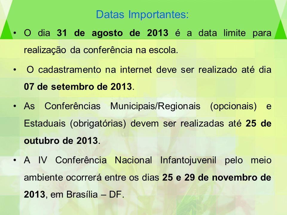 Datas Importantes:O dia 31 de agosto de 2013 é a data limite para realização da conferência na escola.