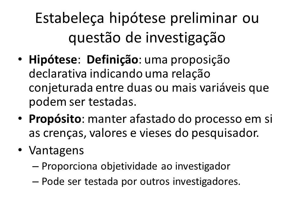 Estabeleça hipótese preliminar ou questão de investigação
