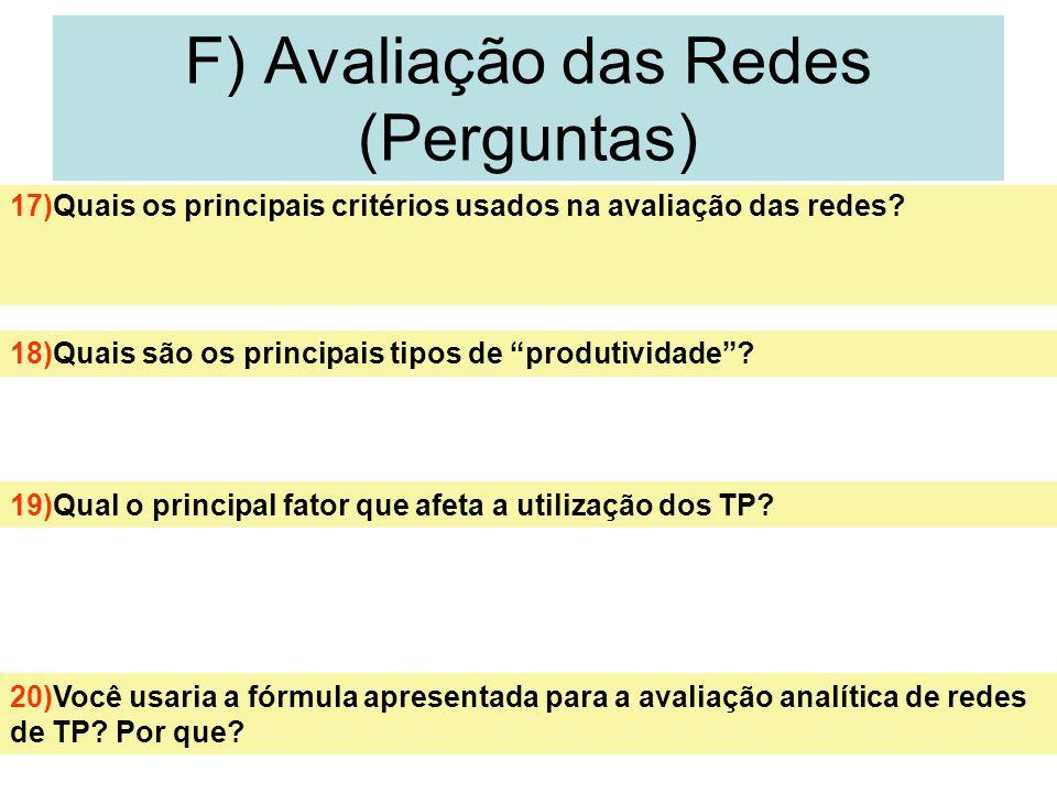 F) Avaliação das Redes (Perguntas)