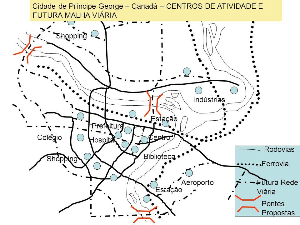 Cidade de Príncipe George – Canadá – CENTROS DE ATIVIDADE E FUTURA MALHA VIÁRIA