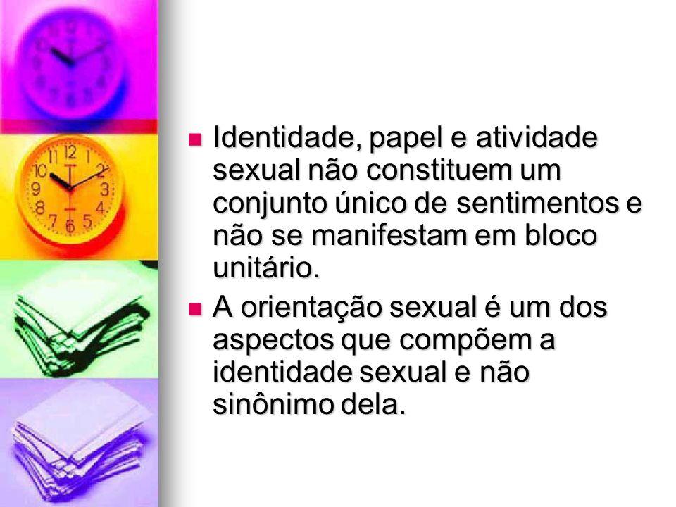Identidade, papel e atividade sexual não constituem um conjunto único de sentimentos e não se manifestam em bloco unitário.