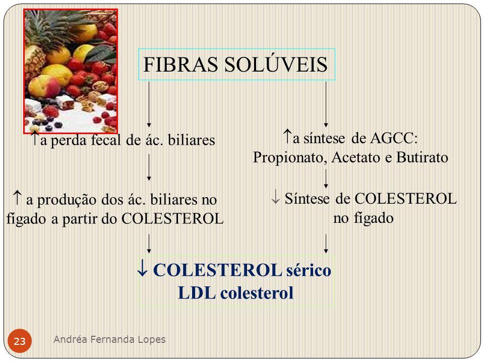 FIBRAS SOLÚVEIS  COLESTEROL sérico LDL colesterol a síntese de AGCC: