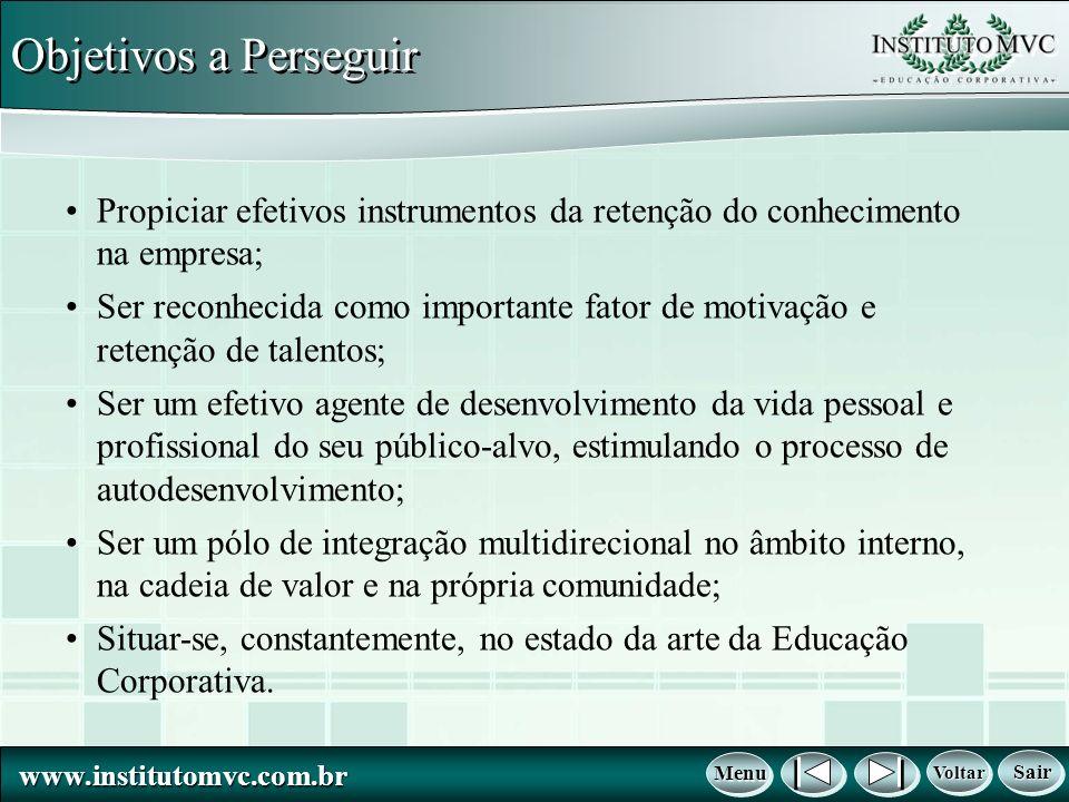 Objetivos a Perseguir Propiciar efetivos instrumentos da retenção do conhecimento na empresa;